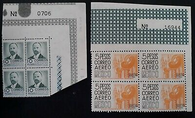 RARE 1951-75 Mexico 2 blocks of 4 stamps w sheet numbers MUH