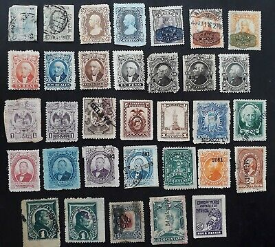 RARE  1860s- Mexico lot of 33 Postage stamps Mint & Used