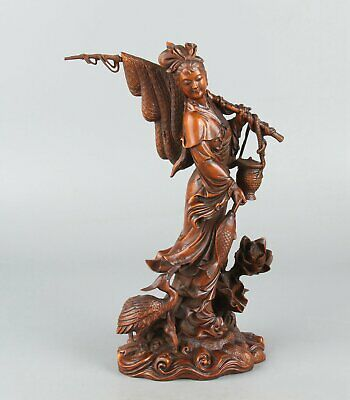 Chinese Exquisite Hand-carved beauty bird Carving Boxwood statue