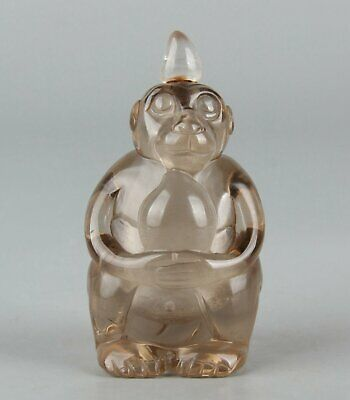 Chinese Exquisite Handmade monkey crystal snuff bottle