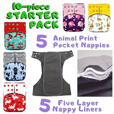 10 PCS POCKET NAPPY *STARTER PACK* 5x CLOTH DIAPERS + 5x CHARCOAL BAMBOO INSERT
