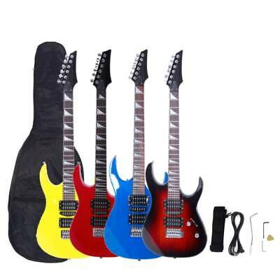New 4 Colors Burning Fire Basswood 22 Frets Electric Guitar Set for Beginner