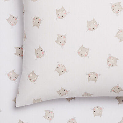 ADAIRS Kitty COT SIZE (Junior Bed) FITTED SHEET & PILLOWCASE SET BNIP cat white