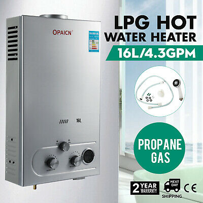16L LPG Propane Gas Hot Water Heater 4.3GPM Automatic Stainless Liquefied