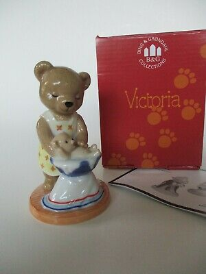 Victoria Teddy Bear Figurine 2001- B&G/ Bing & Grondahl- Mom/Baby/Bath- Box-Mint