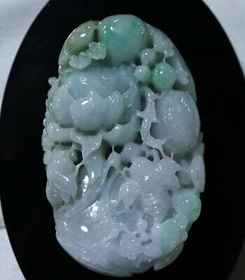 Chinese Exquisite Hand-carved lotus fish Carving jadeite jade statue