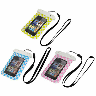 "Check Pattern Waterproof Case Dry Bag Cover Pouch Holder for 4"" Cell Phone"