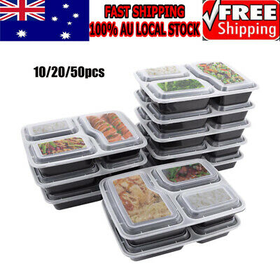 10/20/50 Plastic Food Containers Meal Prep Microwavable Takeway Bento Box