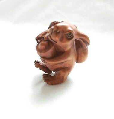 Antique Vintage Signed Japanese Wooden Rabbit Netsuke Ojime Rare Japan