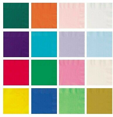 20pk Large Paper Napkins Serviettes Party Tableware Plain Solid Colour Catering