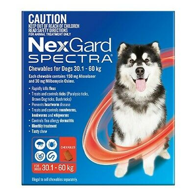 Nexgard Spectra Red 6 for Extra Large Dogs 30.1 - 60 kg 6 Pack - RRP $149