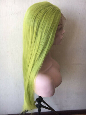 """AU 24"""" Natural Straight Handtied Synthetic Hair Green Lace Front Wig Cosplay"""