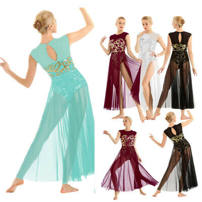 Sexy Women Dance Maxi Dress Floral Sequins Dance Costume Latin Rumba Stage Wear