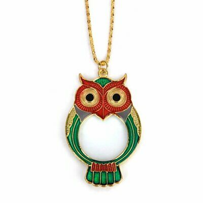 10X Pocket Necklace Magnifier Reading Magnifying Glass Cartoon Owl Pendant Loupe