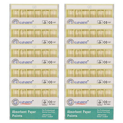 10Packs Dental Absorbent Paper Points Root Canal Endo Cotton Fiber 0.02 15# CE