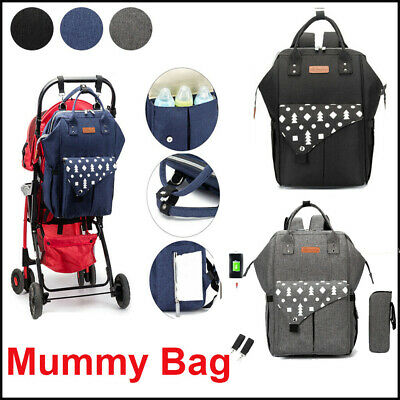 Mummy Nappy Diaper Bag Large Capacity Backpack Baby Nursing Handbag+USB Charging