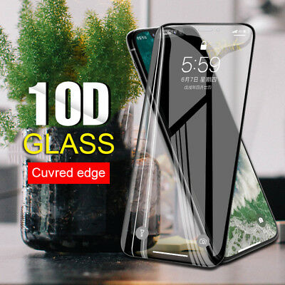 For IPhone 11 X XS MAX XR 8 10D Full Cover Real Tempered Glass Screen Protector