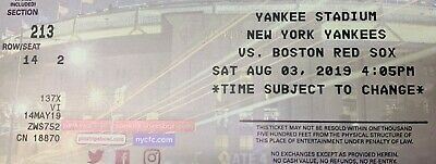 New York Yankees vs Boston Red Sox on August 3rd @ Yankee Stadium