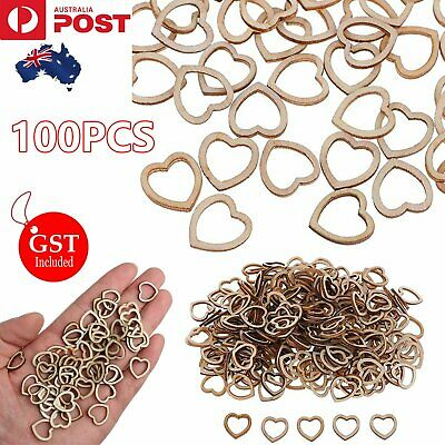 100Pcs Rustic Hollow Small Wooden Hearts Love Confetti Wedding Table Decorations