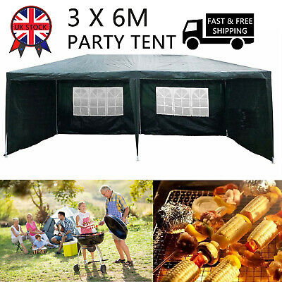 3m x 6m Garden Pavilion Gazebo Shelter Canopy With Side Walls Party Tent Marquee