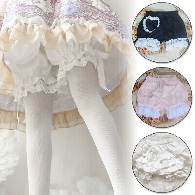 Lady Girl Lolita Bloomers Cotton Shorts Lace Ruffled Elastic Waist Knickers