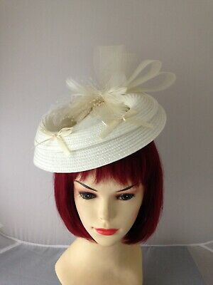 vintage inspired 1940s 1950s style  hat   cream white  straw net feather  beads