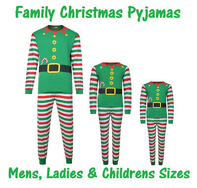 Christmas Pyjamas Family Xmas Elf Theme Ex Store Mum Dad Kids Pj Sets Night Wear