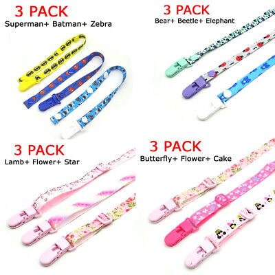 Dummy Clips 3 Pack Boys / Girls - Pacifier Clip - Soother Chain - Baby Gift OZ