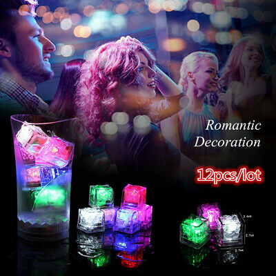 12Pcs Light UP LED Ice Cubes Color Changing Glow Wine Drinks  Christmas Party