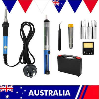 AU 60W Electric Soldering Iron Kit Solder Welding Rework Tool Stand 6 Tips Safe