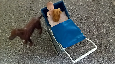 Early Vintage Sindy Doll. 1970s Walk in the Park Pram with red setter dog
