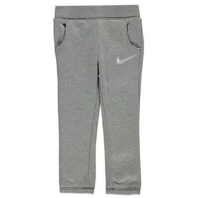 Nike Swoosh Fleece Pants Junior Girls Grey Sweatpants Size 5-6 Years *REF71