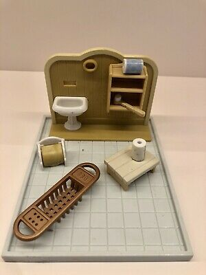 Vintage Sylvanian Families Bathroom Toy Set Furniture And Accessories