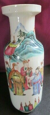CHINESE ROULEAU VASE 1790 very tiny glaze line    hard to see