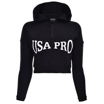USA Pro Half Zip OTH Hoodie Hoody Girls Black Large Logo Size 13 Years *REF34