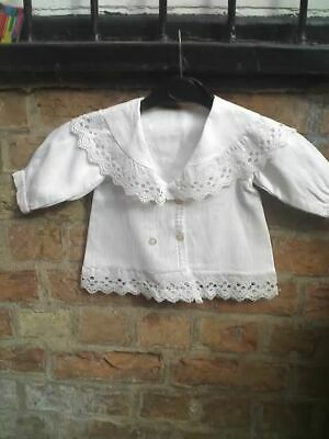 antique white cotton and lace victorian dolls bears childs jacket
