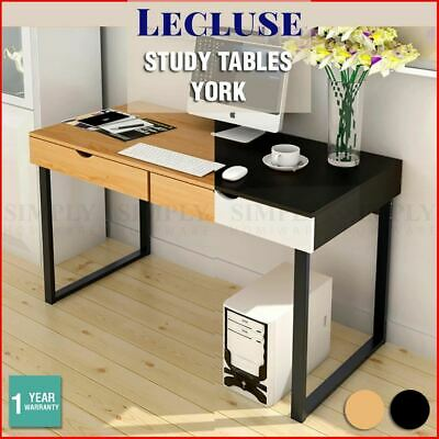 Lecluse Study Desk Office Writing Computer Table Decor Wooden Metal Furniture