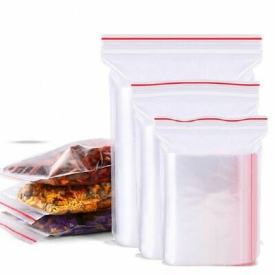 100X Zip Lock Bags Resealable Self Seal Clear PE Poly Ziplock Zipper Packing Bag