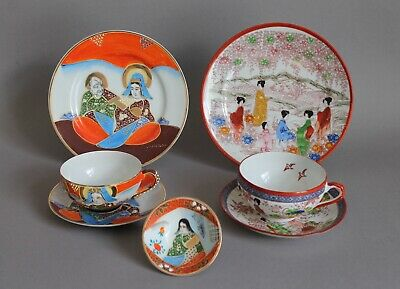 7-tlg. Teegedeck Teetasse Teller China Japan Lithopanie