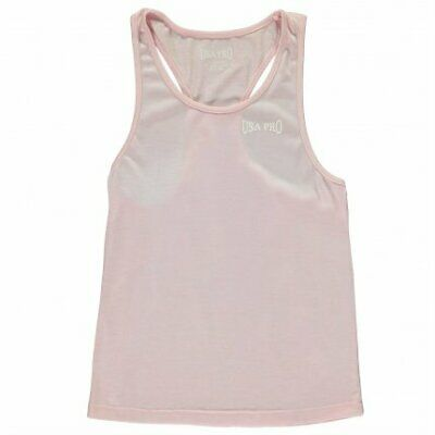 USA Pro Boyfriend Tank Top Girls Juniors Sleeveless Chalk Pink UK Size 11-12 Yrs