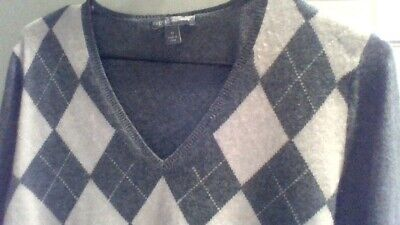 Lovely Womens Apt.9 Classic Argyle 100% Pure Cashmere Jumper Sweater Size M