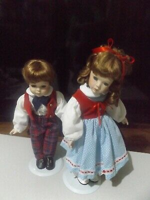 "14"" Lovely Set Porcelain Boy And Girl = Boy Doll Has Music Box."