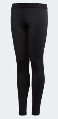 adidas Alphaskin Sports Long Tight Girls Juniors Black Mesh Size 13-14 yr *REF40
