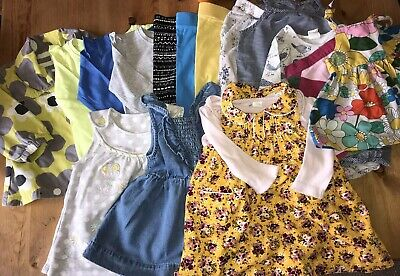 Baby Girls 16 Item Clothes Bundle Dress Tops L Leggings Jacket Trousers age 6-9