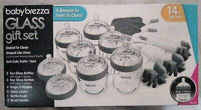 Baby Brezza Glass Baby Bottles 14 Piece Gift Set Anti-Colic