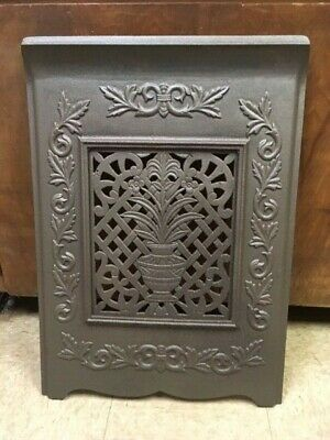 Antique Cast Iron Fireplace Cover With Vase With Flowers And Scroll