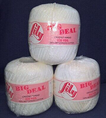 (3) White Crochet Thread - Lily Big Deal - 600 yds - Size 10 - 3 Ply Item #674