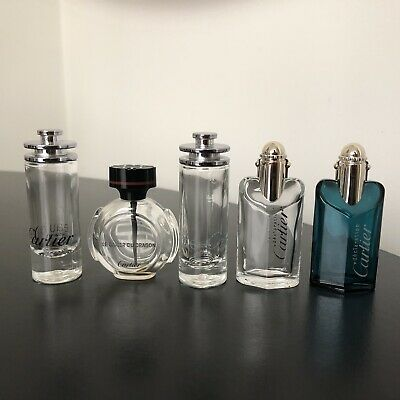 5x Cartier perfume Parfum mini bottles empty baiser du dragon eau declaration