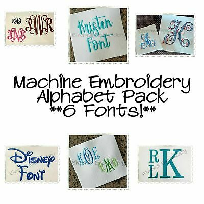 Machine Embroidery Alphabet Font Designs Bundle - 6 Different Fonts Monograms