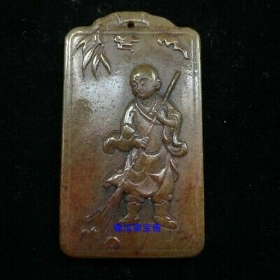 "2"" Chinese antique 100% Natural carved hetian jade Buddhist monk statue Pendant"